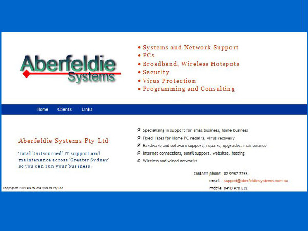 image of the front page of Aberfeldie Systems
