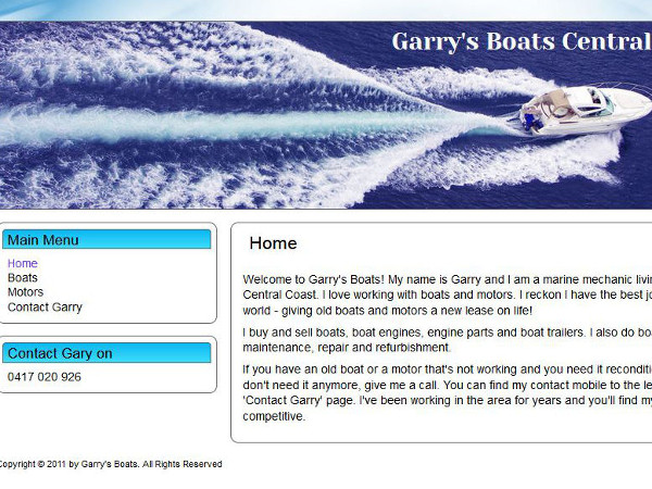 image of the front page of Garry's Boats