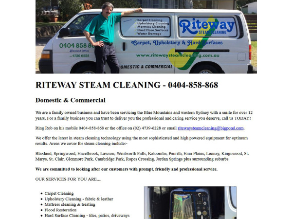 image of the front page of Riteway Steam Cleaning